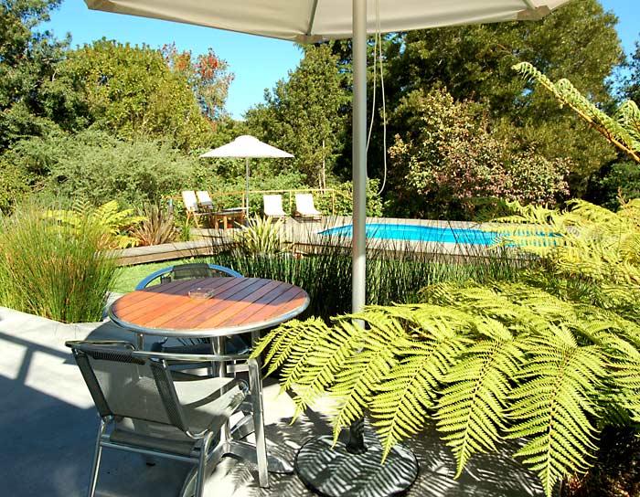 The patio of Studio 2 overlooks the garden and pool